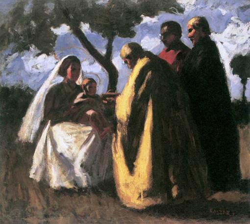 Koszta József festményén a napkeleti bölcsek a kis Jézus színe elé járulnak.