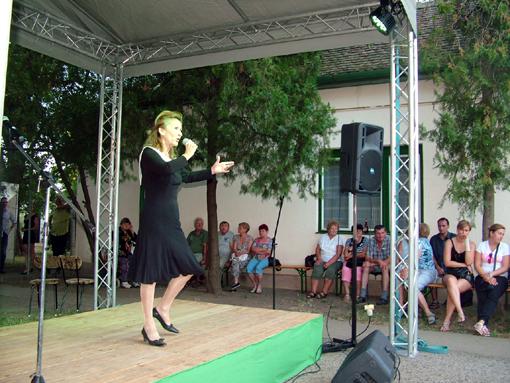 Kovács Zsuzsa Jászai Mari-díjas művésznő a színpadon.